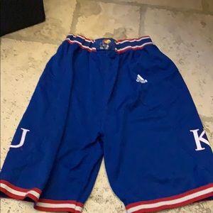 Adidas Kansas basketball shorts- size large